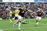 Sam Vokes of Burnley (l) celebrates after scoring his teams 1st goal. Premier League match, Burnley v Everton at Turf Moor in Burnley , Lancs on Saturday 22nd October 2016.<br /> pic by Chris Stading, Andrew Orchard sports photography.