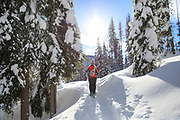Snow shoeing at Lolo Pass, Montana.