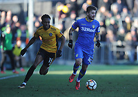 Newport County's Shawn McCoulsky vies for possession with Leeds United's Mateusz Klich<br /> <br /> Photographer Ashley Crowden/CameraSport<br /> <br /> The Emirates FA Cup Third Round - Newport County v Leeds United - Sunday 7th January 2018 - Rodney Parade - Newport<br />  <br /> World Copyright © 2018 CameraSport. All rights reserved. 43 Linden Ave. Countesthorpe. Leicester. England. LE8 5PG - Tel: +44 (0) 116 277 4147 - admin@camerasport.com - www.camerasport.com