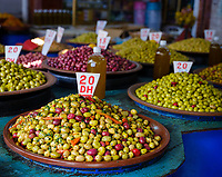 CASABLANCA, MOROCCO - CIRCA APRIL 2018: Store at The Great Habous Olive Market in Casablanca.