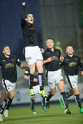 Falkirk's Blair Alston cele scoring their goal. <br /> Half time : Falkirk 1 v 0 Dumbarton, Scottish Championship game played 26/12/2015 at The Falkirk Stadium.