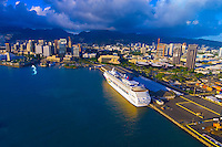 Norwegian Cruise Line's Pride of Aloha cruise ship docked in Downtown Honolulu, Oahu, Hawaii, USA