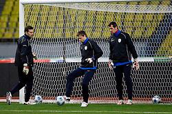 Samir Handanovic, Aleksander Seliga and Jasmin Handanovic at practice of Slovenian team a day before FIFA World Cup 2010 Qualifying match between Russia and Slovenia, on November 13, 2009, in Stadium Luzhniki, Moscow, Russia.  (Photo by Vid Ponikvar / Sportida)