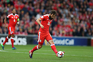 Joe Ledley of Wales in action. Wales v Georgia , FIFA World Cup qualifier, European group D match at the Cardiff city Stadium in Cardiff on Sunday 9th October 2016. pic by Andrew Orchard, Andrew Orchard sports photography