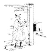 (A man with a sign reading 'Ashes scattered' stands outside a crematorium holding a portable fan)