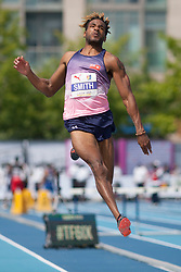 August 12, 2018 - Toronto, ON, U.S. - TORONTO, ON - AUGUST 12: Tyrone Smith (Bermuda), long jump at the 2018 North America, Central America, and Caribbean Athletics Association (NACAC) Track and Field Championships on August 12, 2018 held at Varsity Stadium, Toronto, Canada. (Photo by Sean Burges / Icon Sportswire) (Credit Image: © Sean Burges/Icon SMI via ZUMA Press)