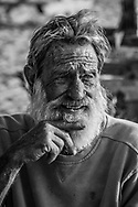 Portrait of a man who lived on a sailboat for 44 years.