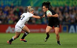 England's Megan Jones tackles New Zealand's Portia Woodman during the 2017 Women's World Cup Final at the Kingspan Stadium, Belfast.
