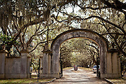 Gate to the stately live oak avenue at Wormsloe Plantation in Savannah, Georgia, USA.