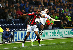 Junior Stanislas of Bournemouth battles with Alan Browne of Preston North End - Mandatory byline: Matt McNulty/JMP - 07966386802 - 22/09/2015 - FOOTBALL - Deepdale Stadium -Preston,England - Preston North End v Bournemouth - Capital One Cup - Third Round