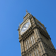 Big Ben with Blue Sky 169-095416655 The clock tower known as Big Ben (formally Elizabeth Tower) with clear blue summer sky. Includes copyspace.