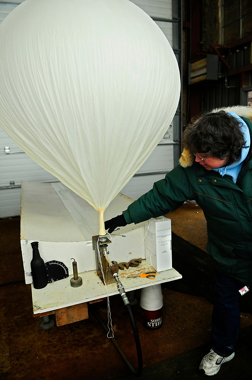 Alaska, Barrow. National Weather facility in Barrow. Preparation and release of the weather ballon. Spring 2008