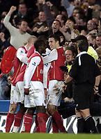 Photo: Olly Greenwood.<br />Chelsea v Arsenal. The Barclays Premiership. 10/12/2006. Arsenal's Matthieu Flamini celebrates scoring his team mates