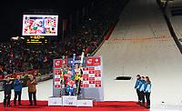 Hopp , 30. desember 2012 , OBERSTDORF SKI NORDISCH, SKISPRINGEN - FIS Weltcup der Herren, Vierschanzen-Tournee    Bild zeigt den Jubel von Gregor Schlierenzauer (AUT), Anders Jacobsen (NOR) und Severin Freund (GER).<br /> Norway only