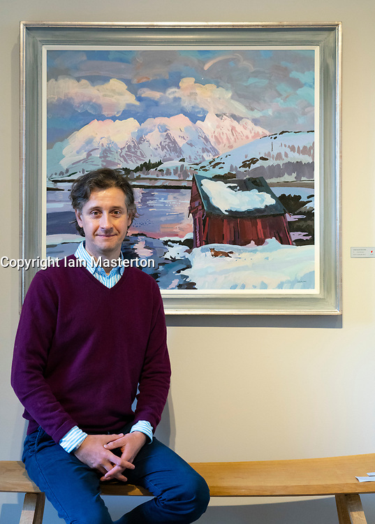 """Edinburgh, Scotland, UK. 28 October 2020. Lachlan Goudie's exhibition Once Upon A Time, inspired by fairy-tales and his experiences during lockdown, runs at The Scottish Gallery in Edinburgh from 28th October – 25th November. Pictured; The artist beside painting """" North Mountain"""". Iain Masterton/Alamy Live News"""