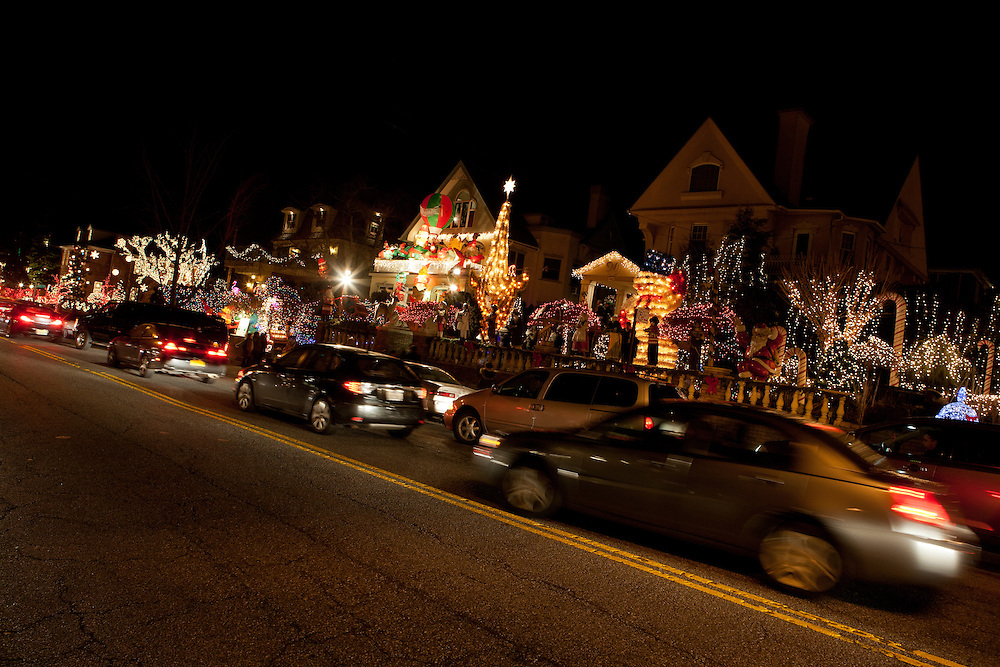 Sightseers flock to Dyker Heights to see the annual Christmas displays.