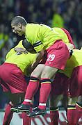 Watford, England. <br /> Vicarage Road.<br /> Football - Worthington Cup 9/10/01<br /> Watford v Bradford:<br /> Watford players celebrate Ramon Vega's goal (buried underneath).   [Mandatory Credit:Peter SPURRIER/Intersport Images]
