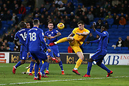Jordan Hugill of Preston NE © attempts a shot at goal. EFL Skybet championship match, Cardiff city v Preston North End at the Cardiff city stadium in Cardiff, South Wales on Friday 29th December 2017.<br /> pic by Andrew Orchard, Andrew Orchard sports photography.