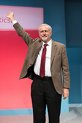 **FILE PICTURE - Monday December 21 marks 100 days since Jeremy Corbyn became leader of the Labour Party**© Licensed to London News Pictures . 29/09/2015 . Brighton , UK . JEREMY CORBYN waves after delivering his speech to the 2015 Labour Party Conference . Photo credit : Joel Goodman/LNP