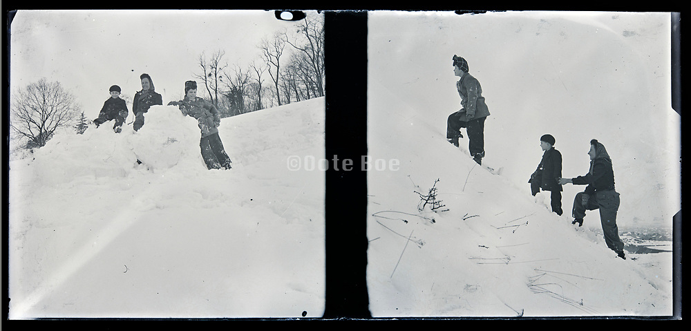 playing in the snow circa 1920s