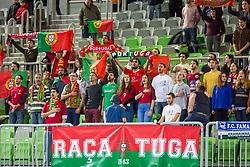 Portugal fans during futsal match between Portugal and Azerbaijan in Quaterfinals of UEFA Futsal EURO 2018, on February 6, 2018 in Arena Stozice, Ljubljana, Slovenia. Photo by Ziga Zupan / Sportida