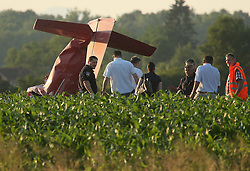 07.06.2015, Vrbovec, Zagreb, CRO, Absturz eines Sportflugzeuges während einer Flugshow bei der 2 Menschen starben, im Bild Sport plan felt during air show and two people died. The accident occurred // during a demonstration flight which was held as part of the Open Days Dubrava Aero Club and the plane crashed near the runway at Vrbovec in Zagreb, Croatia on 2015/06/07. EXPA Pictures © 2015, PhotoCredit: EXPA/ Pixsell/ Robert Anic<br /> <br /> *****ATTENTION - for AUT, SLO, SUI, SWE, ITA, FRA only*****