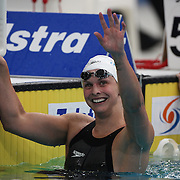 Lisbeth Trickett after winning the women's 100m freestyle during the Australian Swimming Championships and Selection Trials for the XIII Fina World Championships held at Sydney Olympic Park Aquatic Centre, Sydney, Australia on March 19, 2009. Photo Tim Clayton