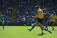 Jack Grealish of Aston Villa takes a shot past Joel Ward of Crystal Palace . Barclays Premier league match, Crystal Palace v Aston Villa at Selhurst Park in London on Saturday 22nd August 2015.<br /> pic by John Patrick Fletcher, Andrew Orchard sports photography.