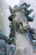 A horse's head at the Monument aux Girondins sculpture and fountain on the Esplanade des Quinconces square in Bordeaux