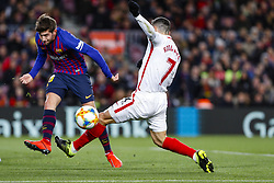 January 30, 2019 - Barcelona, Spain - FC Barcelona midfielder Sergi Roberto (20) and Sevilla FC midfielder Roque Mesa (7) during the match FC Barcelona v Sevilla CF, for the round of 8, second leg of the Copa del Rey played at Camp Nou  on 30th January 2019 in Barcelona, Spain. (Credit Image: © Mikel Trigueros/NurPhoto via ZUMA Press)