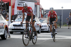 July 4, 2018 - Mouilleron Le Captif, France - MOUILLERON-LE-CAPTIF, FRANCE - JULY 4 : VANENDERT Jelle  (BEL)  of Lotto Soudal and BENOOT Tiesj  (BEL)  of Lotto Soudal during a team reconnaissance of stage 1 prior the 105th edition of the 2018 Tour de France cycling race, a stage of 201 kms between Noirmoutier-en-l'Ile and Mouilleron-Le-Captif on July 04, 2018 in Mouilleron-Le-Captif, France, 4/07/18 ( Motordriver Kenny Verfaillie - Photo by Jan De Meuleneir / Photonews. (Credit Image: © Panoramic via ZUMA Press)