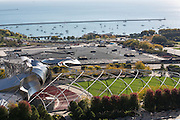 Jay Pritzker Pavilion and lake front marina in Millennium Park from above in Chicago USA