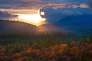 Stormy sunset over Fall colors on trees in mixed forest, Shasta National Forest, near Burney, California