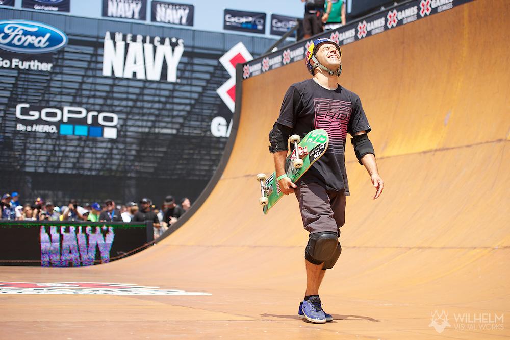 Sandro Dias during Skate Vert Finals at the 2013 X Games Los Angeles in Los Angeles, CA. ©Brett Wilhelm/ESPN