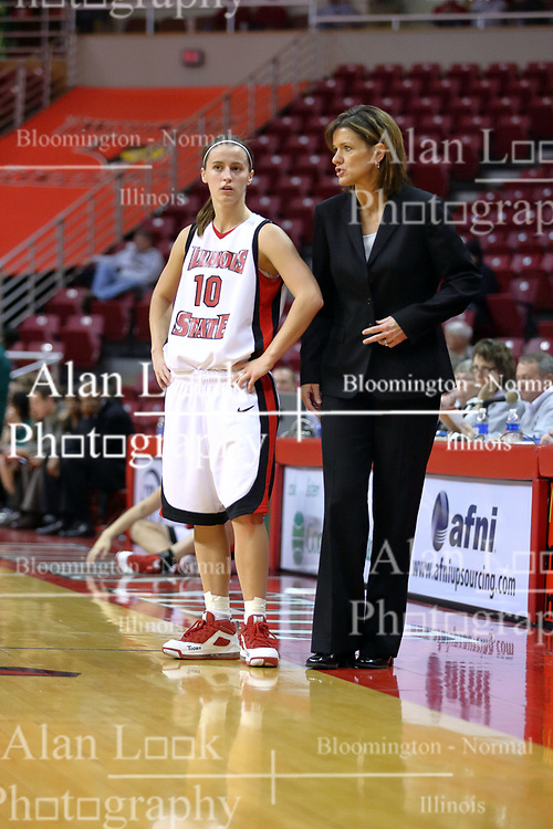 06 December 2008: Kristi Cirone talks with coach Robin Pingeton during a game between the Eastern Michigan Eagles and the Illinois State Redbirds on Doug Collins Court inside Redbird Arena on the campus of Illinois State University, Normal Il.