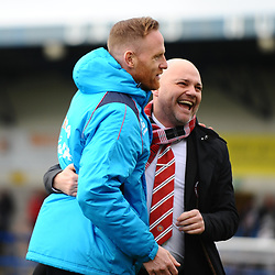 TELFORD COPYRIGHT MIKE SHERIDAN 9/3/2019 - Telford manager Gavin Cowan with FC United boss Neil Reynolds during the National League North fixture between AFC Telford United and FC United of Manchester (FCUM) at the New Bucks Head Stadium