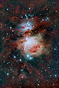 The Great Nebula in Orion (Messier 42) with The Running Man nebula (Messier 43) just above it.