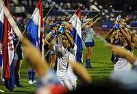 Guard Of Honour for Match Hero Theo Walcott as Celebrates towards the England fans as he walks off the pitch<br /> England 2008/09<br /> Croatia V England (1-4) World Cup 2010 Qualifying Match 10/09/08<br /> Photo Robin Parker Fotosports International