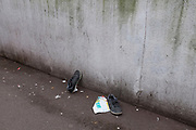 Disgarded pair of trainers, London, UK.
