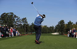 April 1, 2018 - Augusta, GA, USA - Vijay Singh, the 2000 Masters champion, tees off on the first hole to begin his practice round on Sunday, April 1, 2018 at Augusta National Golf Club in Augusta, Ga. (Credit Image: © Curtis Compton/TNS via ZUMA Wire)