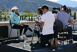 March 7, 2019 - Indian Wells, CA, U.S. - INDIAN WELLS, CA - MARCH 07: WTA tennis player Naomi Osaka (JPN) does an interview with NHK television on March 7, 2019 at the Indian Wells Tennis Garden in Indian Wells, CA. (Photo by John Cordes/Icon Sportswire) (Credit Image: © John Cordes/Icon SMI via ZUMA Press)