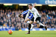 Ross Barkley of Everton goes past Branislav Ivanovic of Chelsea. Barclays Premier league match, Chelsea v Everton at Stamford Bridge in London on Saturday 16th January 2016.<br /> pic by John Patrick Fletcher, Andrew Orchard sports photography.
