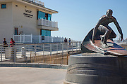 Hermosa Beach Pier Surfer Statue and Lifeguard Operations Building