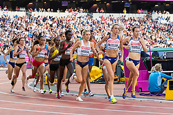London, August 10 2017 . Karoline Bjerkeli Grøvdal, Norway, Eilish McColgan, Great Britain, and Stephanie Twell, Great Britain, in the women's 5,000m heats on day seven of the IAAF London 2017 world Championships at the London Stadium. © Paul Davey.
