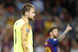(L-R) PSV goalkeeper Jeroen Zoet,  Lionel Messi of FC Barcelona, during the UEFA Champions League group B match between FC Barcelona and PSV Eindhoven at the Camp Nou stadium on September 18, 2018 in Barcelona, Spain.
