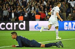 PSG's Thomas Meunier celebrates scoring during the UEFA Champions League Paris Saint-Germain v Real Madrid at the Parc des Princes stadium on September 18, 2019 in Paris, France. PSG won 3-0. Photo by Christian Liewig/ABACAPRESS.COM