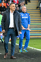 Football - 2017 / 2018 Premier League - Swansea City vs. Stoke City<br /> <br /> Stoke City manager Paul Lambert & Swansea City manager Carlos Carvalhal, whose teams are both relegated  at The Liberty Stadium.<br /> <br /> COLORSPORT/WINSTON BYNORTH