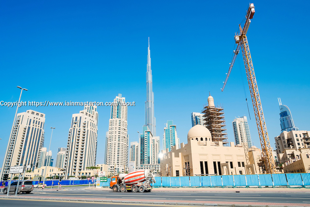 Skyline and Burj Khalifa  at Downtown area in Dubai United Arab Emirates
