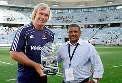 Schalk Burger poses with the winners trophy during the Festival of Rugby match between The Boland Cavaliers and The Stormers held at The Cape Town Stadium (formerly Green Point Stadium) in Cape Town, South Africa on 6 February 2010.  This is the first match/event to be held at the new stadium which was purpose built to host matches during the FIFA World Cup South Africa 2010.Photo by: Ron Gaunt/SPORTZPICS