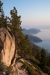 """""""Boulders at Lake Tahoe 44"""" - These boulders and trees were photographed from the Flume Trail above Lake Tahoe in the late afternoon."""